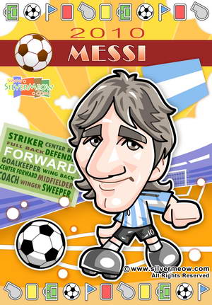 Soccer Toon Poster 2010 - Lionel Messi (Argentina)