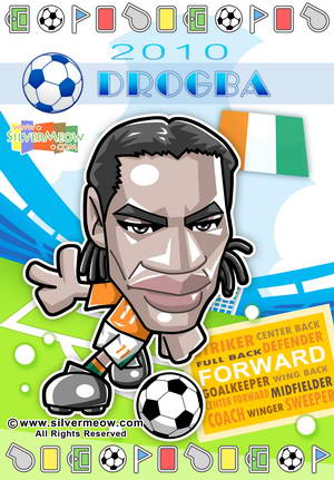 Soccer Toon Poster 2010 - Didier Drogba (Ivory Coast)